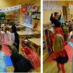 Zabawy taneczne dzieci z grupy Biedronek wspólnie z nauczycielką