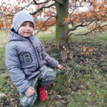Chłopiec wskazuje kwiaty