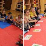 Dzieci dzielą na sylaby nazwy obrazków