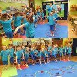 Dzieci ćwiczą z woreczkami
