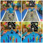 Dzieci grają w klasy i w kręgle