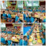 Dzieci jedzą słodki poczęstunek.