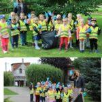 Dzieci ubrane w rekawiczki i wyposażone w worki na śmieci idą zbierać śmieci