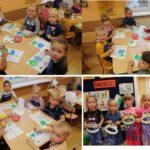 Dzieci z malują podczas wykonywania prac plastycznych
