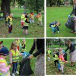 Przedszkolaki zbierają śmieci w parku w Grębociacach