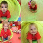 Zabawa dzieci tunelem