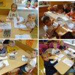 Dzieci kolorują przy stolikach