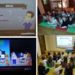 Dzieci z grupy Biedronek oglądają film edukacyjny nt. smogu